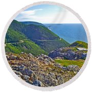 Skyline Trail And Road Through Cape Breton Highlands Np-ns Round Beach Towel