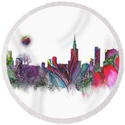 Skyline Warsaw Round Beach Towel