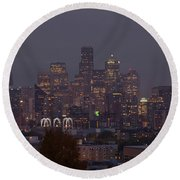 Skylines At Dusk, Seattle, King County Round Beach Towel