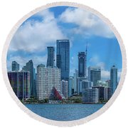 Skylines At The Waterfront, Miami Round Beach Towel