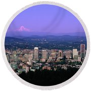 Skylines In A City With Mt Hood Round Beach Towel