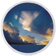 Skyscape - Puffy White Clouds Round Beach Towel