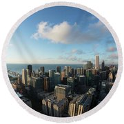 Skyscrapers In A City, Chicago, Cook Round Beach Towel