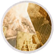 Skyscrapers Reflection  Round Beach Towel