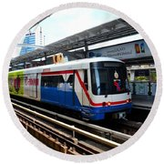 Skytrain Carriage Metro Railway At Nana Station Bangkok Thailand Round Beach Towel
