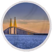 Skyway Bridge Round Beach Towel