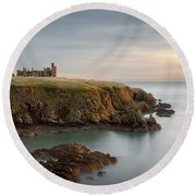 Slains Castle Sunrise Round Beach Towel by Dave Bowman