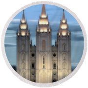 Slc Temple Blue Round Beach Towel by La Rae  Roberts