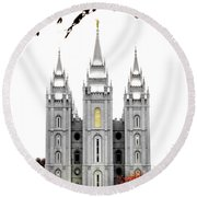 Slc White N Red Temple Round Beach Towel