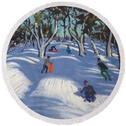 Sledging At Ladmanlow Round Beach Towel by Andrew Macara