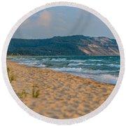 Sleeping Bear Dunes At Sunset Round Beach Towel