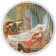Sleeping Beauty And Prince Charming Round Beach Towel