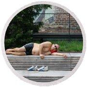 Sleeping Beauty On The High Line Round Beach Towel