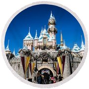 Sleeping Beauty's Castle Round Beach Towel