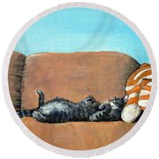 Sleeping Cat Round Beach Towel