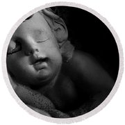 Sleeping Cherub #1bw Round Beach Towel