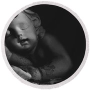 Sleeping Cherub #2bw Round Beach Towel