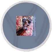 Sleeping In Today Round Beach Towel by Katie Cupcakes