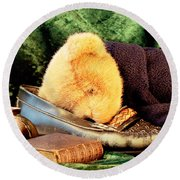 Sleeping Teddy Round Beach Towel