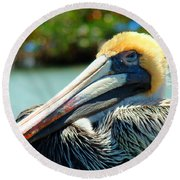 Sleepy Pelican Round Beach Towel