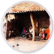Slice Of Life Mud Oven Chulha Tandoor Indian Village Rajasthani 1b Round Beach Towel