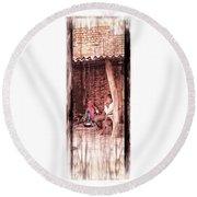 Slice Of Life Mud Oven Chulha Tandoor Indian Village Rajasthani 1c Round Beach Towel