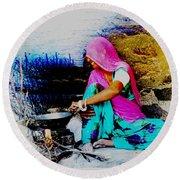 Slice Of Life Mud Oven Chulha Tandoor Indian Village Rajasthani 2 Round Beach Towel