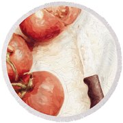 Sliced Tomatoes. Vintage Cooking Artwork Round Beach Towel