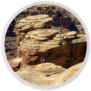 Slickrock Canyon Formations Round Beach Towel