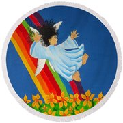 Sliding Down Rainbow Round Beach Towel