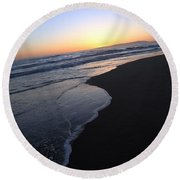 Sliding Down - Sunset Beach California Round Beach Towel