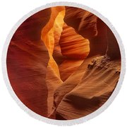 Slot Canyon Detail Corkscrew Or Upper Antelope Slot Canyon Arizona Round Beach Towel