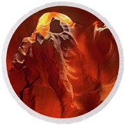 Slot Canyon Formations In Upper Antelope Canyon Arizona Round Beach Towel