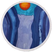 Slot Retablo Original Painting Round Beach Towel