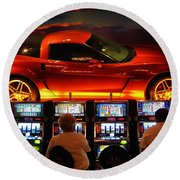 Slots Players In Vegas Round Beach Towel