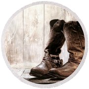 Slouch Cowboy Boots Round Beach Towel