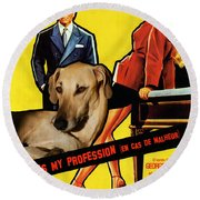 Sloughi Art - Love Is My Profession Movie Poster Round Beach Towel