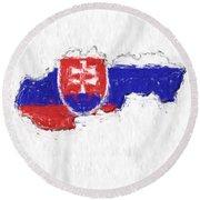 Slovakia Painted Flag Map Round Beach Towel