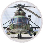 Slovakian Mi-17 With Digital Camouflage Round Beach Towel