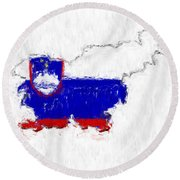 Slovenia Painted Flag Map Round Beach Towel
