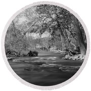 Slow Down At The River Round Beach Towel
