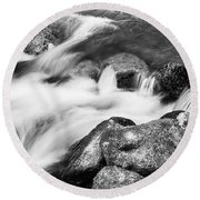 Slow Flow Black And White Round Beach Towel