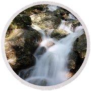 Slow Shutter Waterfall Scotland Round Beach Towel
