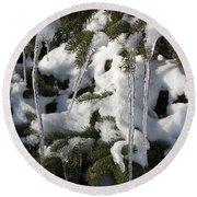 Slow Snow Melt Round Beach Towel