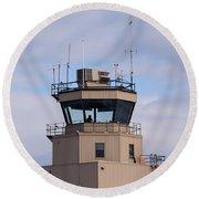 Small Air Traffic Control Tower Man Behind Glass Round Beach Towel