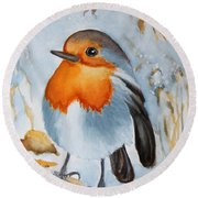 Small Bird Round Beach Towel