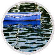 Small Blue Boat Round Beach Towel