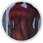 Small Blue Mirror Round Beach Towel by Graham Dean