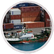 Small Boat With Cargo Containers Round Beach Towel