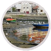 Small Boats And Seagulls In Galicia Round Beach Towel